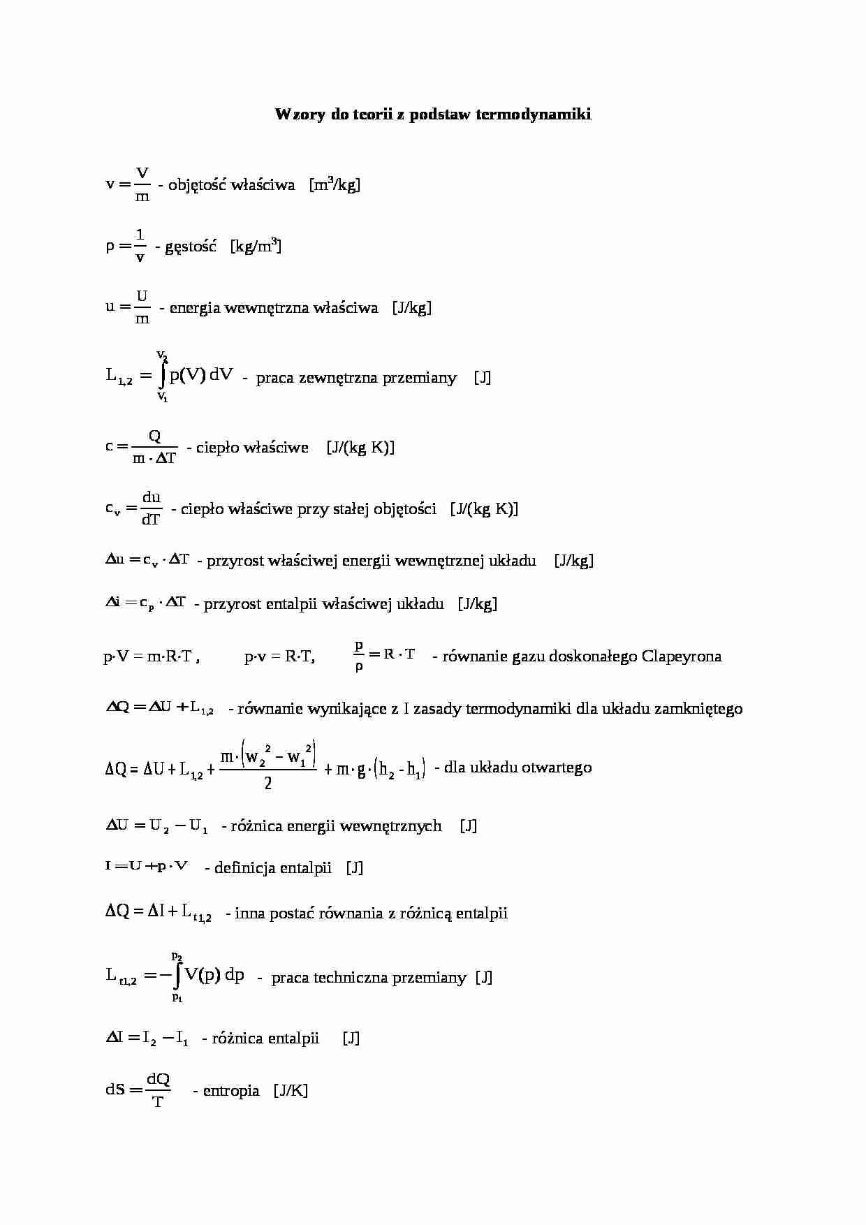 Wzory Do Teorii Z Podstaw Termodynamiki Oparcowanie