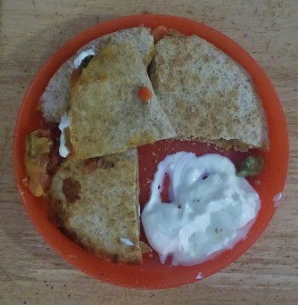 Quesadilla's with beef, onion and peppers. M's Portion.