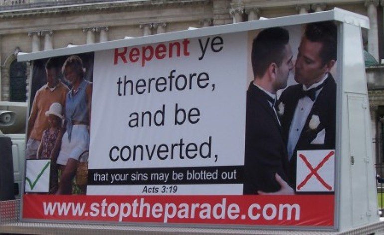 An anti-gay pride parade billboard from Belfast in 2005. (Photo: Adam McGibbon at Bright Green)