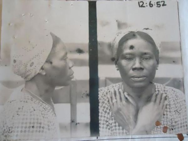 Mugshot of Nigerian Janet Ogban, convicted of brothel-keeping in Takoradi, Gold Coast (Ghana), 1952. (National Archives Ibadan (NAI) CSO 26/36005 Vol.II)