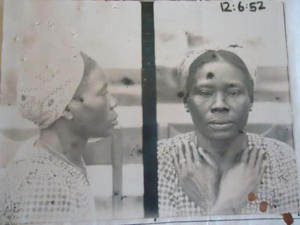 Mugshot of Nigerian Janet Ogban, convicted of brothel-keeping in Takoradi, Gold Coast (Ghana), 1952. (National Archives Ibadan (NAI) CSO 26/36005 Vol.II)