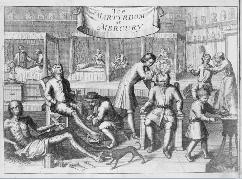 Patients undergoing the notoriously painful Mercury treatment for syphilis, 1709, Wellcome Images