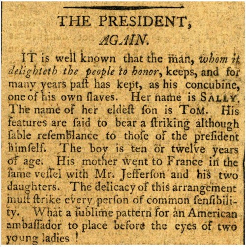 "James T. Callender, ""The President, Again."" Richmond Recorder, Sept 1, 1802. (Encyclopedia Virginia)"