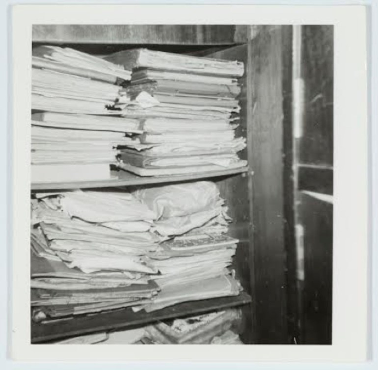 "Eve Langley, ""The Manuscript Cupboard, Sept 1970"". Eve & June Langley collection. State Library of New South Wales. PXE 1333"