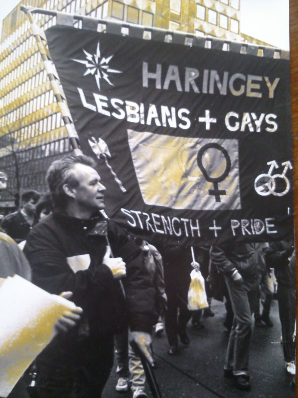Bob Cant demonstrating against Section 28, 1988 (Photo courtesy of Bob Cant)
