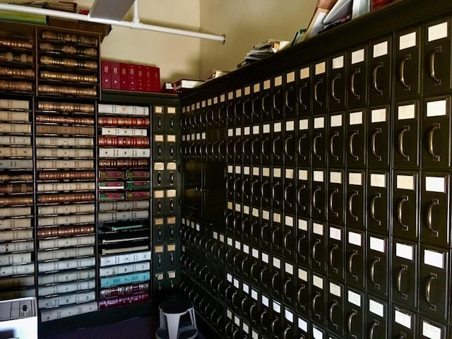 Court dockets and journals (left) and drawers of case files (right). Vault of the Pawnee County District Court, Pawnee County Courthouse. Pawnee City, Nebraska.