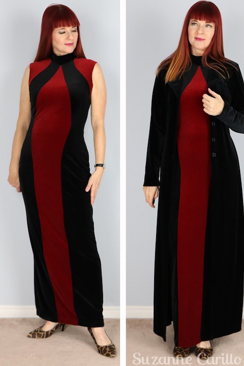 what-to-wear-for-christmas-red-and-black-velvet-maxi-dress