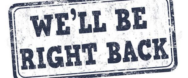 We'll be right back grunge rubber stamp on white background, vector illustration