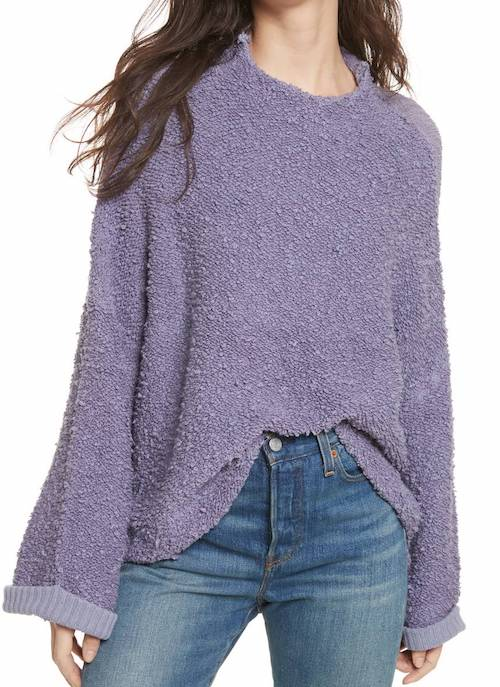 This oversized sweater is a lovely color, but too overwhelming for me.