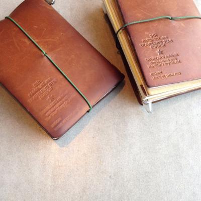 経年劣化しているキャメルカラーのトラベラーズノートの写真