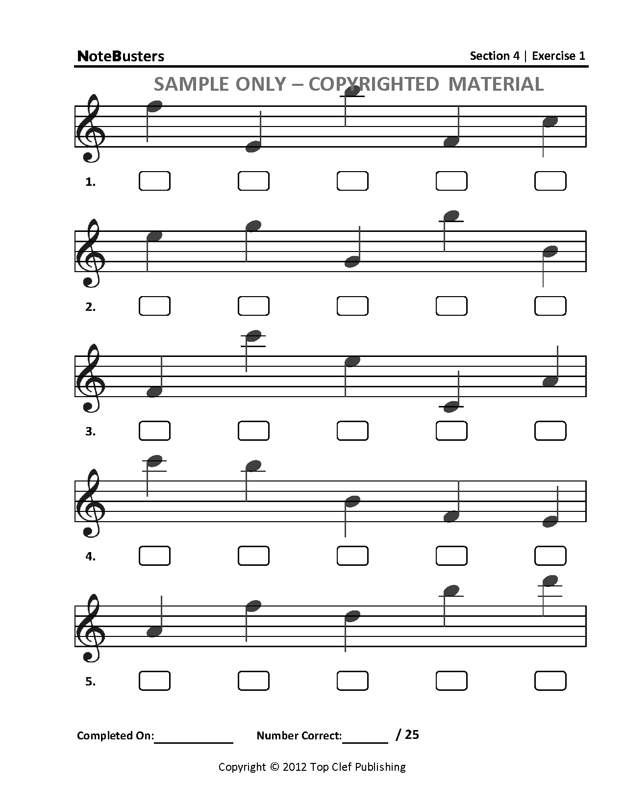 Notebusters Sight Reading Music Workbook Section 4 Sample