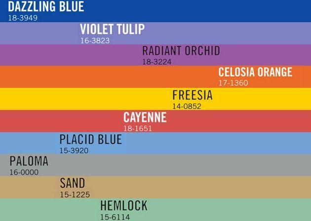 Gama cromática de los colores Pantone de tendencia