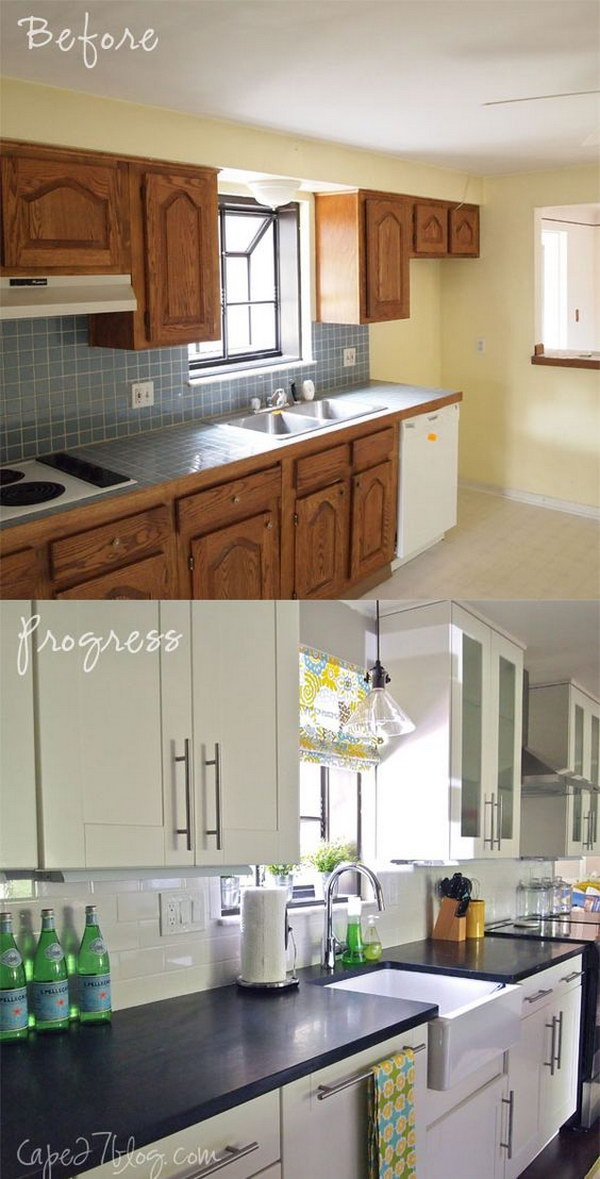 There is a large variety of tile flooring to choose from, and it can be a little intimidating to know where to start. Pretty Before And After Kitchen Makeovers - Noted List