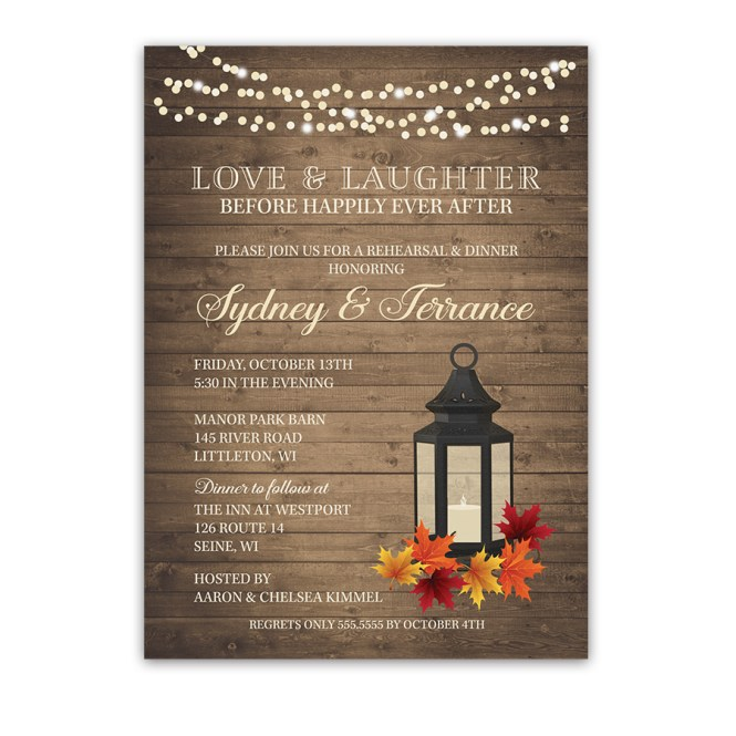 Fall Wedding Rehearsal Dinner Invite Metal Lantern Leaves