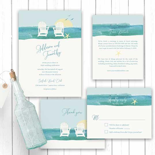 Wedding Invitations Beach Chair Destination Weddings Template