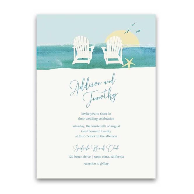Wedding Invitations Beach Chair
