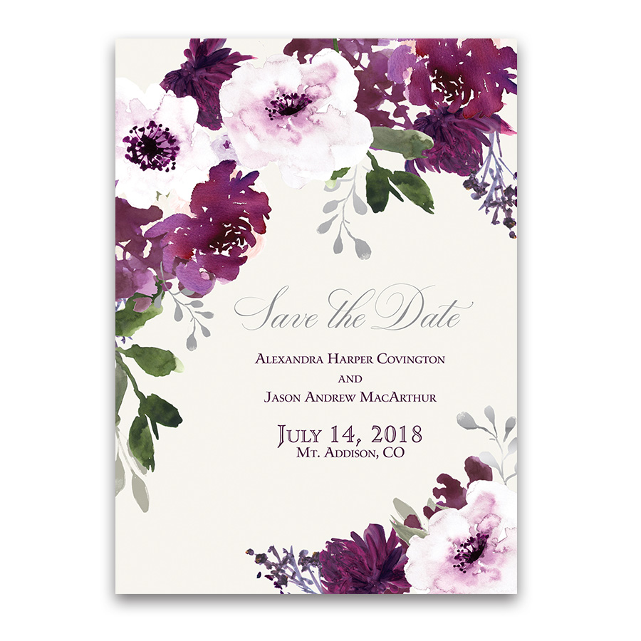 Save Date Cards Burgundy