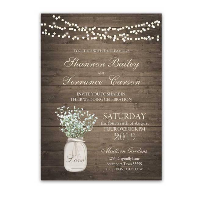 Rustic Mason Jar Wedding Invitation With Babys Breath