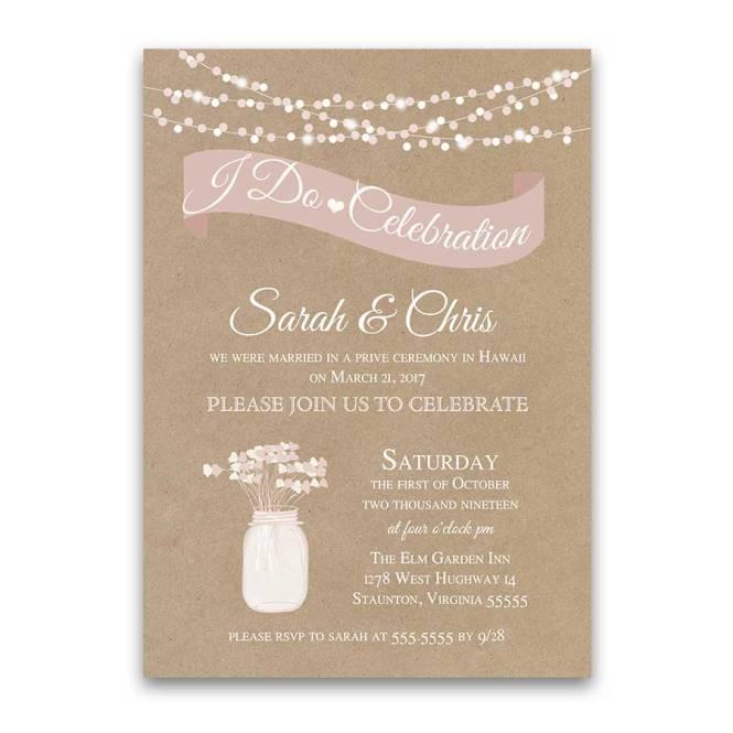 I Do Bbq Wedding Reception Only Invitation Rustic Kraft
