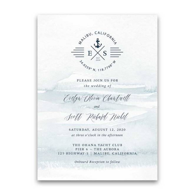Nautical Wedding Invitations Anchor Ship Set