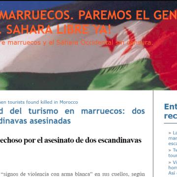 La seguridad del turismo en marruecos: dos turistas escandinavas asesinadas — BOICOT A MARRUECOS. PAREMOS EL GENOCIDIO SAHARAUI. SAHARA LIBRE YA!