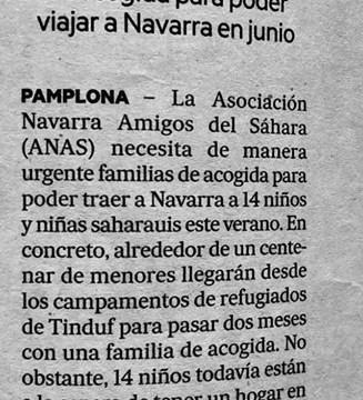 ANAS necesita familias de acogida para 14 niños saharauis . Noticias de Navarra