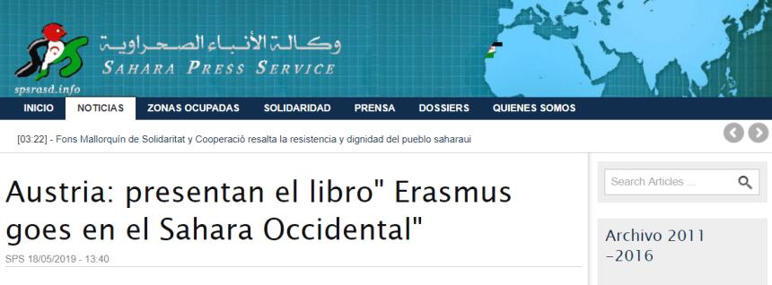 Austria: presentan el libro» Erasmus goes en el Sahara Occidental» | Sahara Press Service