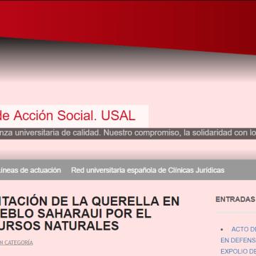 ACTO DE PRESENTACIÓN DE LA QUERELLA EN DEFENSA DEL PUEBLO SAHARAUI POR EL EXPOLIO DE RECURSOS NATURALES   Clínica Jurídica de Acción Social. USAL