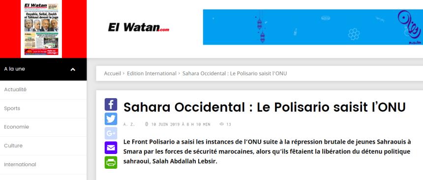 Sahara Occidental : Le Polisario saisit l'ONU | El Watan