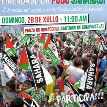 28 de Julio: concentración en la plaza do Obradoiro en Santiago de Compostela, por la libertad del Pueblo Saharaui