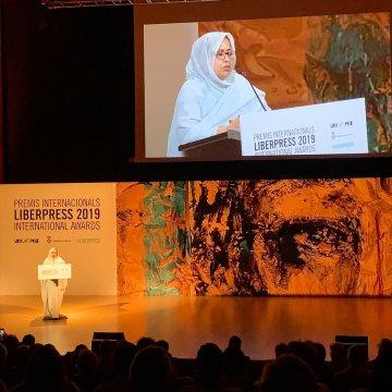 Jira Bulahi Bad levanta el premio LiberPress 2019 en nombre del pueblo saharaui | Sahara Press Service