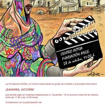 #SaharaAccion! #Pilarbardem ,#Pepeviyuela, #Ignaciocembrero, #Alvarolongoria , #Pedroperezrosado , #Patriciaferreira,#Elenasanchez , debate , proyección documental: #GuerradePaz de cineasta saharaui #Aichaabdelwadud. Recital #Suilmaali