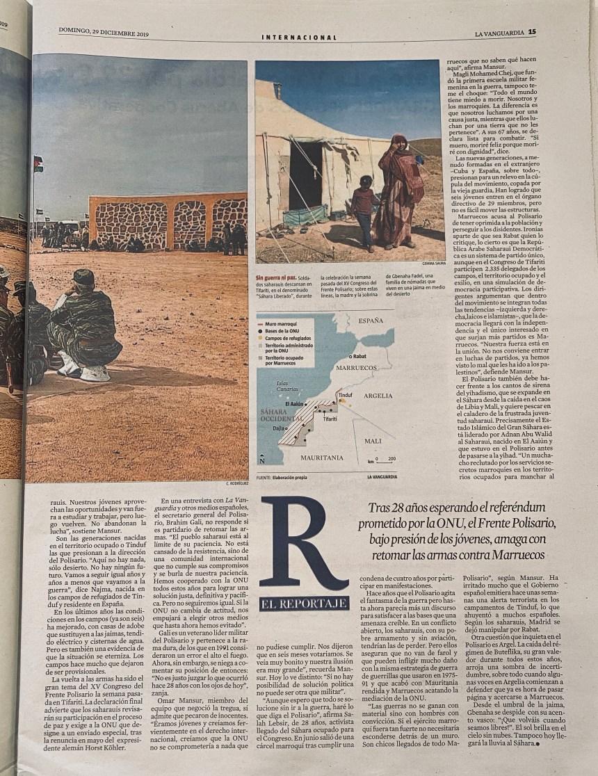 Opinión ante el mapa del Sahara Occidental publicado por LA VANGUARDIA en su, por otra parte, muy interesante artículo «La guerra tienta a los saharauis»