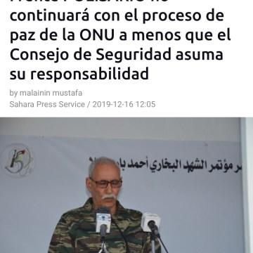 Brahim Gali afirma que el Frente POLISARIO no continuará con el proceso de paz de la ONU a menos que el Consejo de Seguridad asuma su responsabilidad | Sahara Press Service