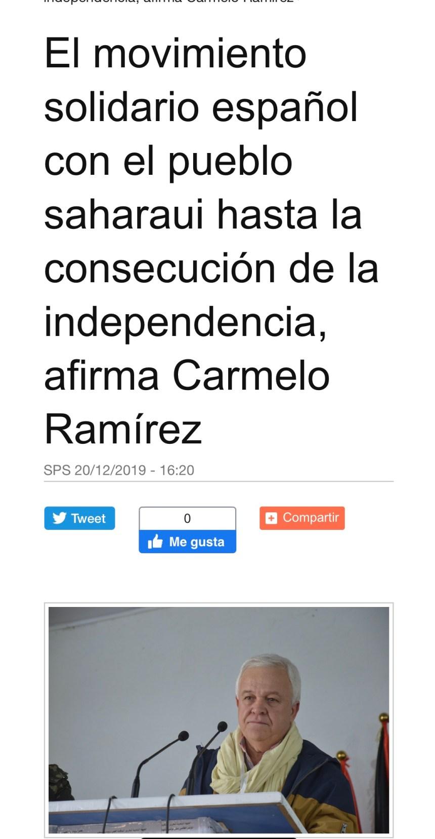 El movimiento solidario español con el pueblo saharaui hasta la consecución de la independencia, afirma Carmelo Ramírez | Sahara Press Service
