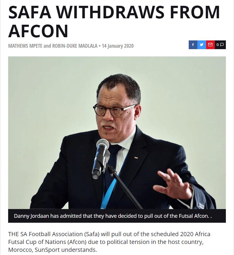 Sudáfrica cancela la participación de su equipo en el fútbol sala que se organizará en El Aaiún ocupado