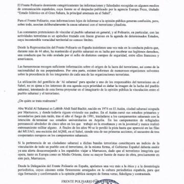 LEJSEE: Comunicado de la Delegación del @PolisarioEU para España en las que desmiente, enérgicamente, las informaciones falseadas cuya fuente es la Agencia @europapress