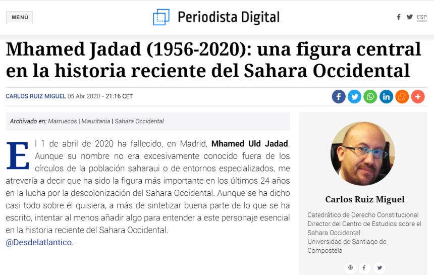 Mhamed Jadad (1956-2020): una figura central en la historia reciente del Sahara Occidental – Desde el Atlántico