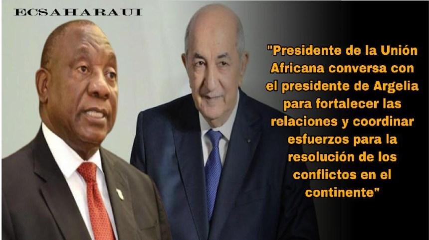 El presidente de la UA discute con el presidente de Argelia formas para la resolución de los conflictos en el continente