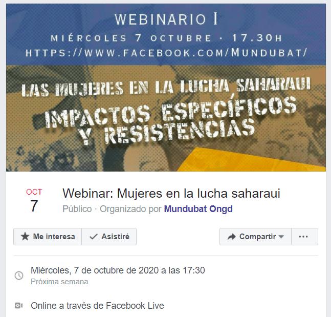 MUNDU BAT organiza «Mujeres en la lucha saharaui: impactos específicos y resistencias», a través de Facebook Live