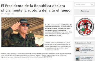 Tras el ataque de Marruecos en Guerguerat, el Frente declara el estado de guerra en sus territorios