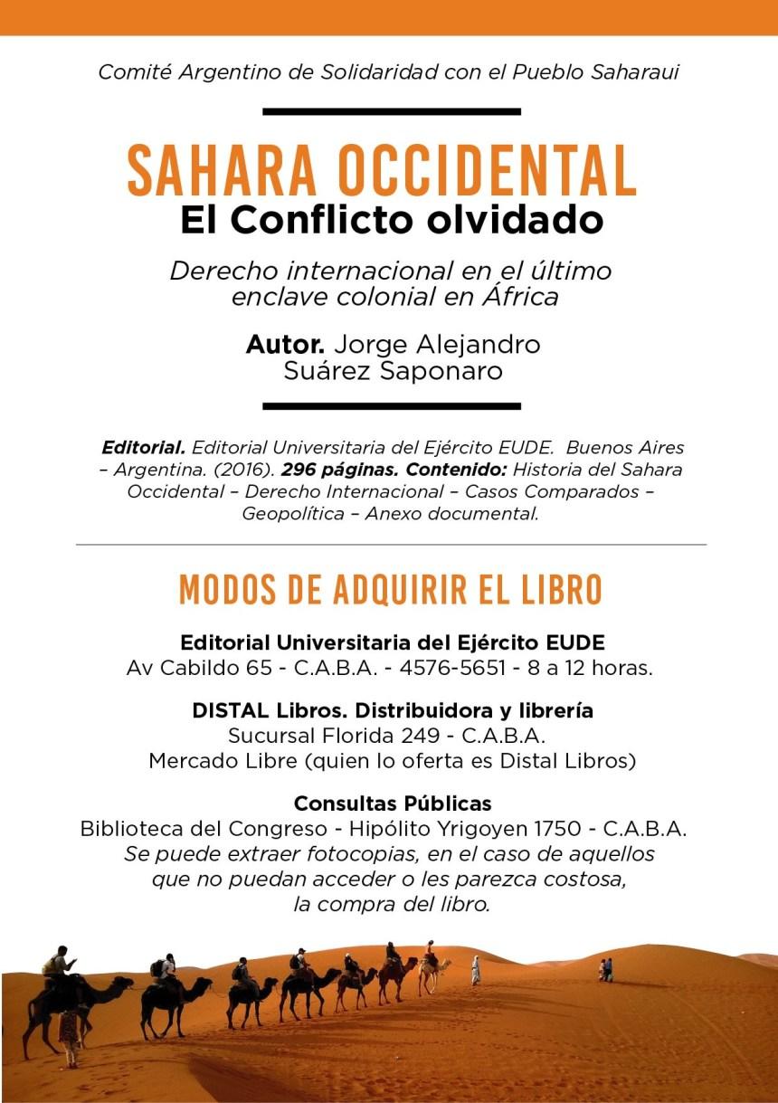 Sahara Occidental – El conflicto olvidado. Derecho Internacional en el último enclave colonial en África, primer libro sobre el tema saharaui en Argentina | Sahara Press Service