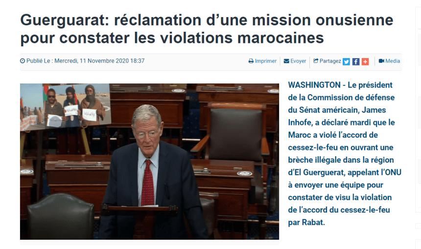 Guerguarat: réclamation d'une mission onusienne pour constater les violations marocaines