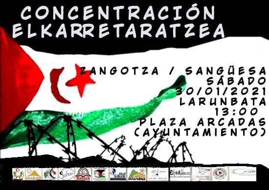 Solidaridad NAVARRA con el pueblo saharaui |  Concentración en Sangüesa/Zangoza el sábado día 30 a las 13 horas en la Plaza de las Arcadas (Ayuntamiento)