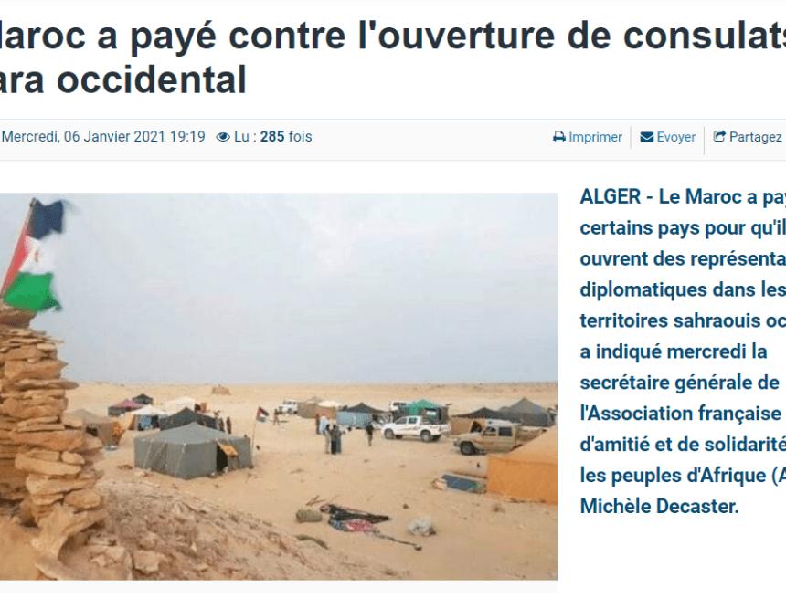 Marruecos ha pagado por la apertura de representaciones diplomáticas en los territorios saharauis ocupados,  afirmala Asociación Francesa de Amistad y Solidaridad con los Pueblos de África