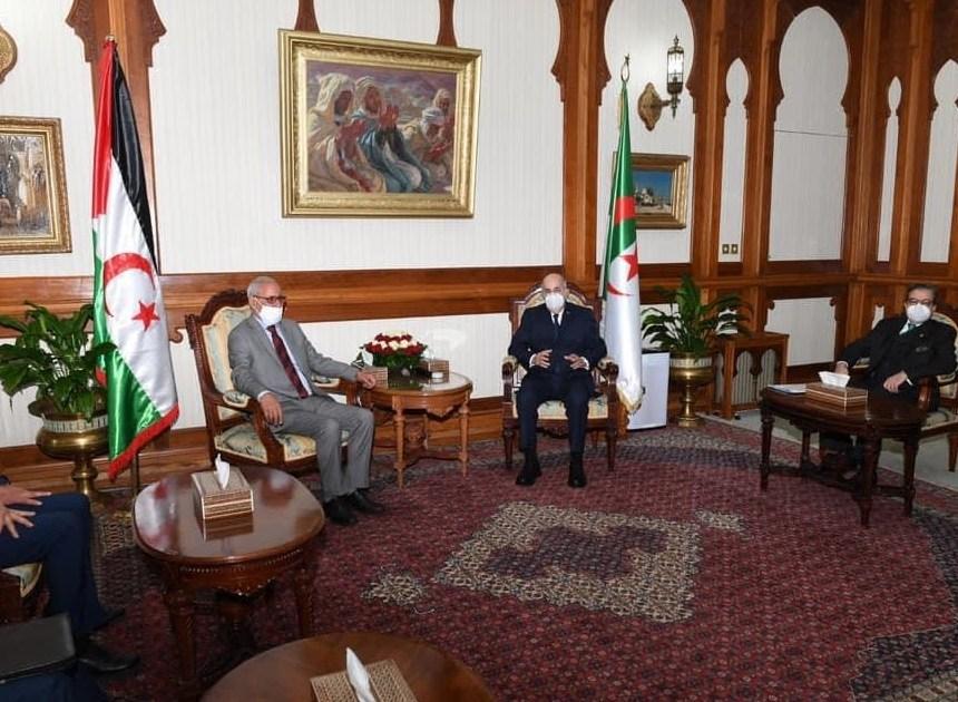Tebboune recibió a Brahim Ghali y Abdelkader Taleb Omar en la sede presidencial de la República
