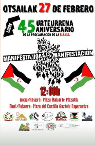 Convocan una manifestación el sábado en Pamplona en apoyo al pueblo saharaui