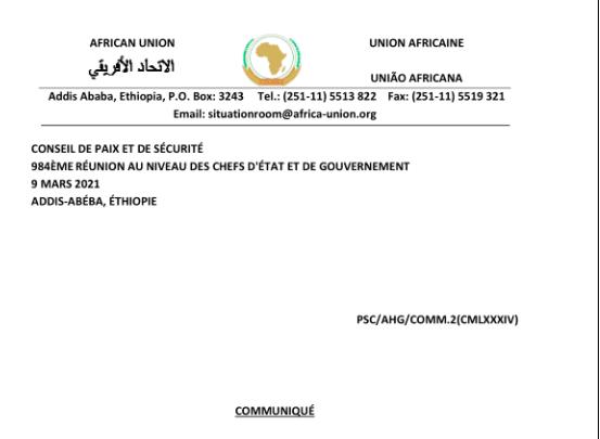 Communique de la 984eme réunion du CPS tenue le 9 mars 2021, sur le suivi de la mise en œuvre du paragraphe 15 de la décision sur Faire taire les armes du 14eme Sommet extraordinaire – Western Sahara   ReliefWeb