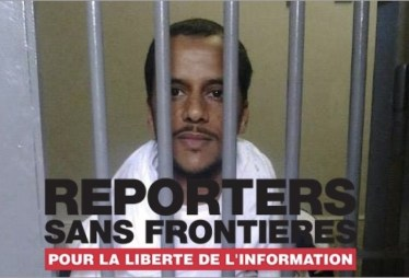 Campaña de RSF en francés solicitando la libertad de Mohamed Lamin Haddi.