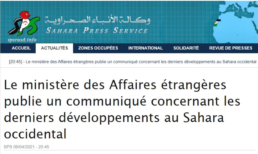 Le ministère des Affaires étrangères publie un communiqué concernant les derniers développements au Sahara occidental | Sahara Press Service
